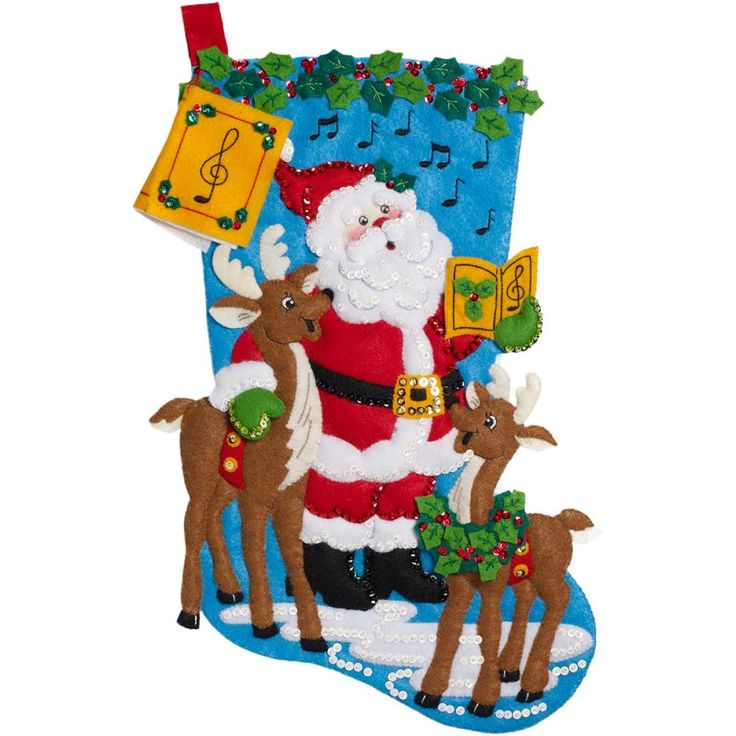 "Caroling Santa Stocking Felt Applique Kit-18"" Long"