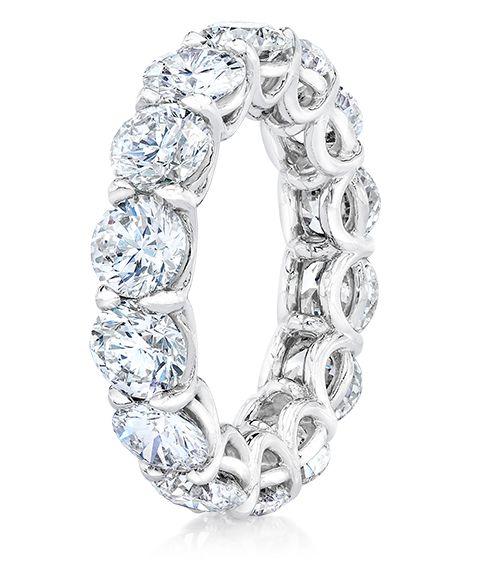 Cellini Jewelers Cellini Round Brilliant Diamond Eternity Band  Round brilliant diamonds, in a handmade, shared-prong, platinum setting.