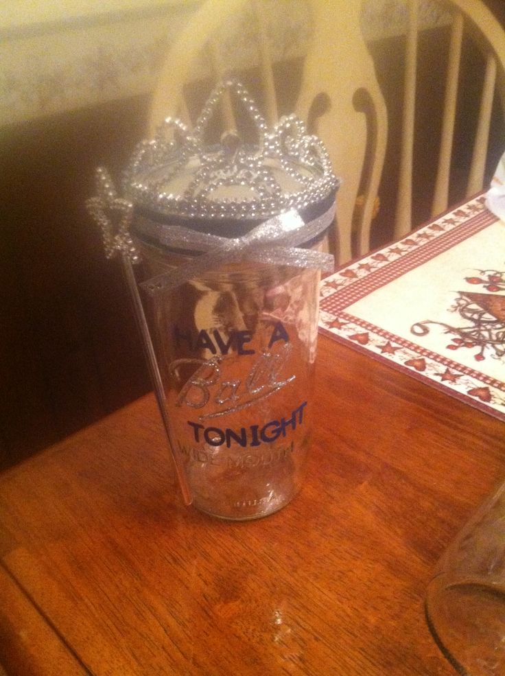 "Made these for my lovely 9 Contestants in the Miss Marion County ILLINOIS Fair Queen pageant. Filled them with tons of candy and girly things! ""Have a Ball tonight"" mason jars :) #DIY"
