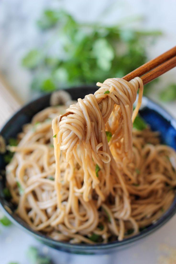 Sesame soba noodles, minus egg, with chicken..