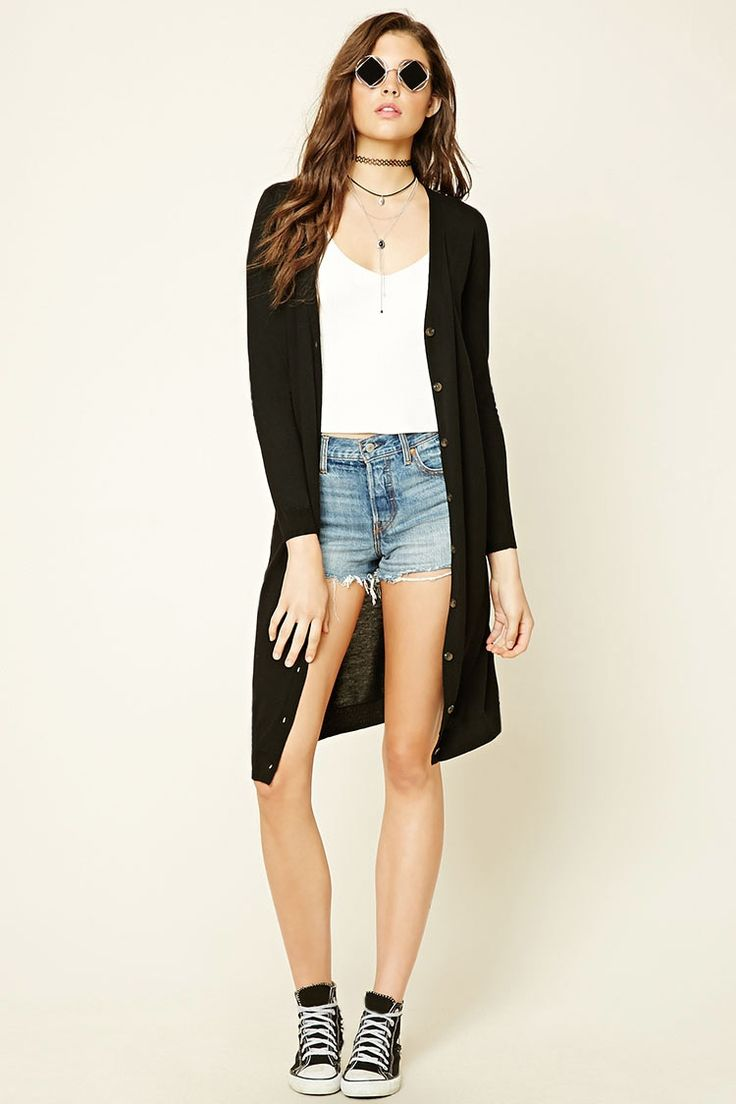 Style Deals - A soft, medium weight knit duster cardigan featuring a V-neckline, long sleeves and button-down front.
