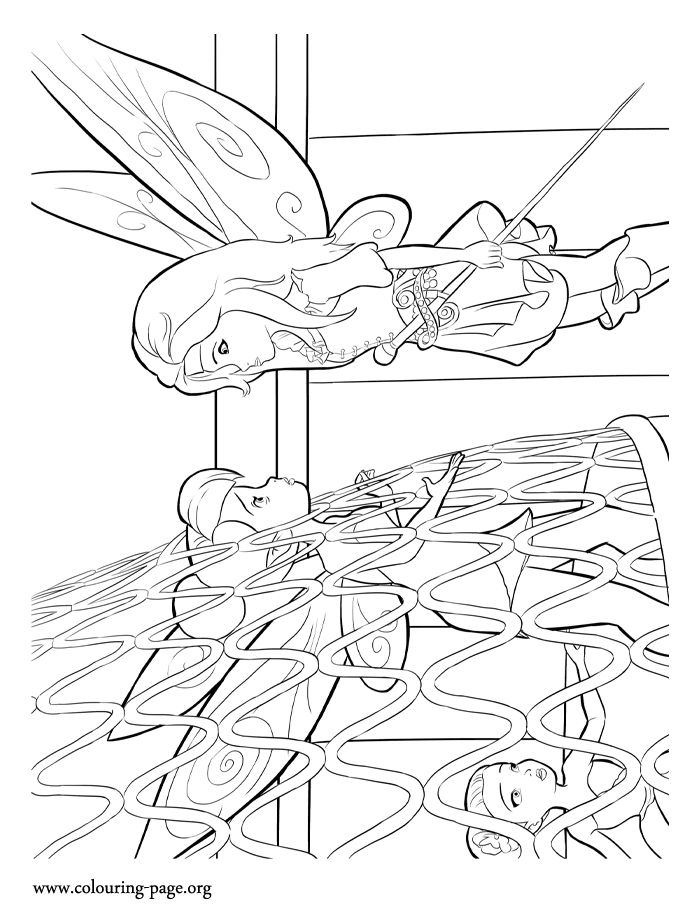 looks like zarina is watching over tinkerbell who is trapped in a birdcage  print and color this