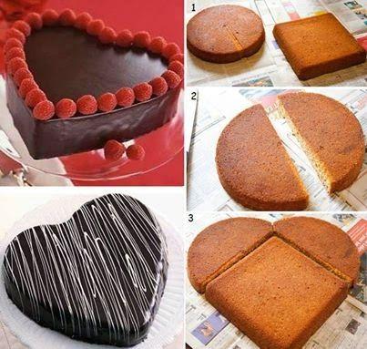 como hacer bizcocho con forma de corazon