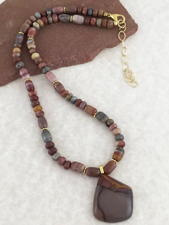 Jasper Pendant Necklace on Beaded Strand of Rainbow Onyx and Gold Beads $75 USD…