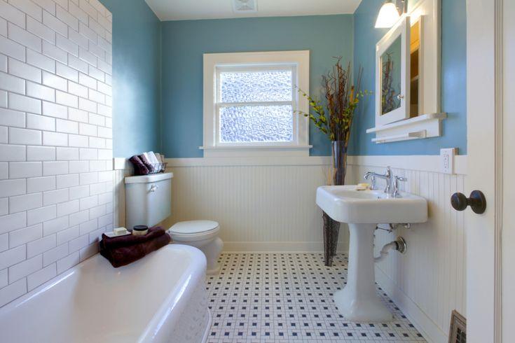 Baño vintage suelo a topos