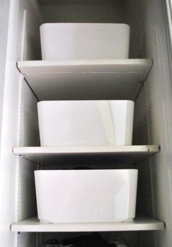 Oragnizing Closet Shelves With White Bins From One Of Our Favorite Stores