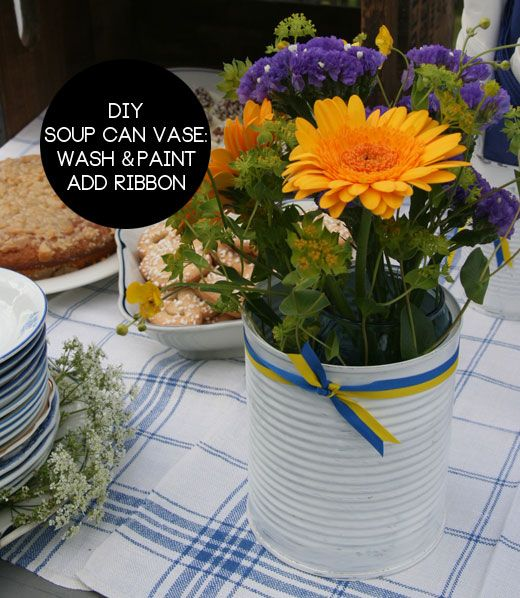 Soup can vase: Diy Interiors, Crafts Ideas, Diy Art, Decor Worthy, Crafty Things, Affordable 2013, Diy Soup, Kids, Soup Cans Vases Diy