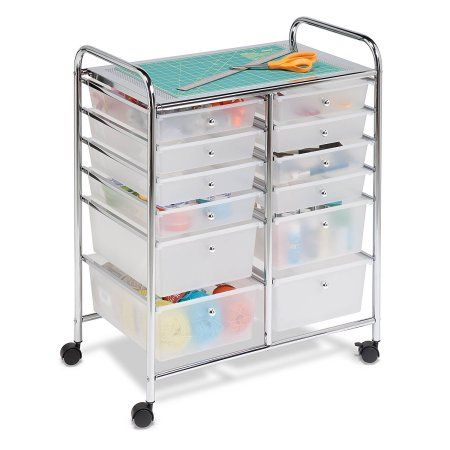 Free Shipping. Buy Honey Can Do Doublewide 12-Drawer Rolling Cart, Chrome/Clear at Walmart.com