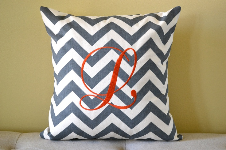 Monogrammed Chevron 16 x 16 Pillow Cover - Machine Embroidered Monogrammed Throw Pillow. $26.00 ...