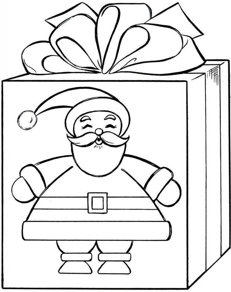 santa gift coloring page cute