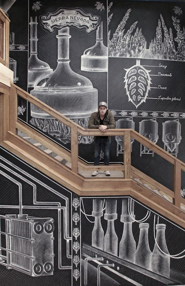 by Ben Johnston. Illustration murale pour la nouvelle brasserie Sierra Nevada à Asheville aux USA