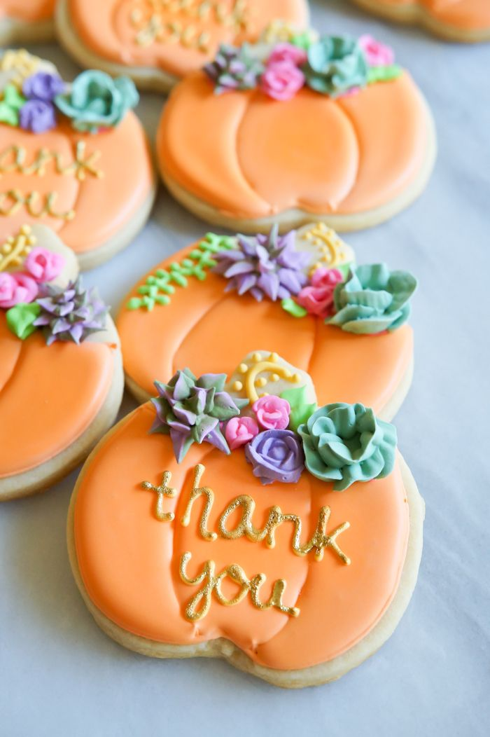 how to make decorated pumpkin cookies with royal icing succulents and roses | @bakeat350