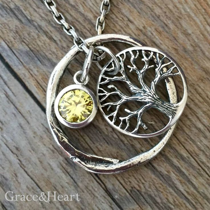 Grace&Heart Brilliant Shiny Rolo Chain, Eternity Circle, Mighty Tree of Life Sterling Silver, and Fiery Birthstone Pendant  Tina.GraceandHeart@gmail.com  #GraceandHeart