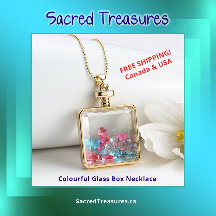So pretty! Colourful Glass Box Necklace.   Get it here: https://sacredtreasures.ca/collections/pendants/products/colourful-glass-box-necklace   #jewelry #pendants #necklace
