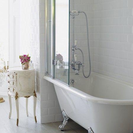 Burlington Hampton Shower Bath 150 x 75cm LH Freestanding - White
