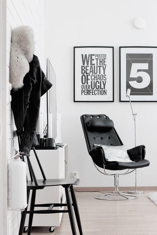 black and white stylish interior