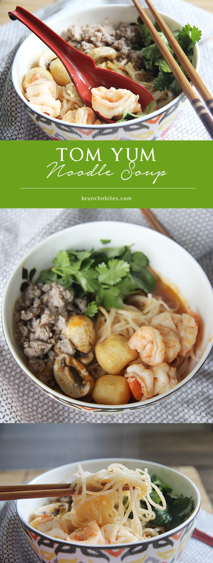 This spicy, aromatic Tom Yum Noodle Soup is a savory way to warm up your evening. Slurpy comforting!