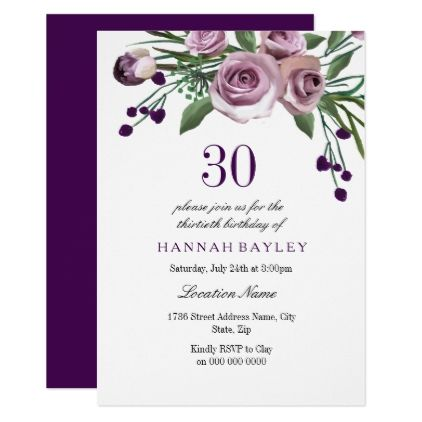 #Elegant Plum Purple Rose 30th Birthday Invitation - #birthdayinvitation #birthday #party #invitation #cool #parties #invitations
