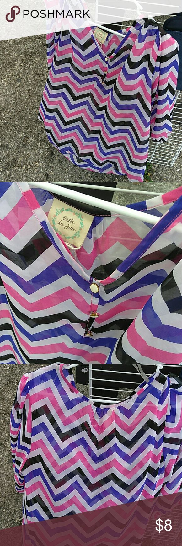 Belle du Jour Chevron shirt Like new juniors blouse royal blue, pink and black. Totally cute and missing from your closet Belle Du Jour Tops Blouses