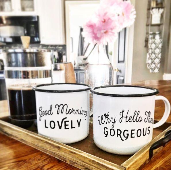 Morning Greetings Enamel Mugs Set of 2
