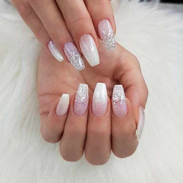 Elegant White Ombre Coffin Nails with Glitter #ombrenails #glitternails #whitena…