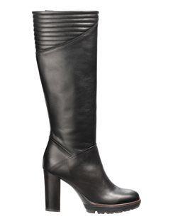 Stiefel aus echtem Leder mit hohem Blockabsatz und Reissverschluss auf der Innenseite. #madeleinefashion