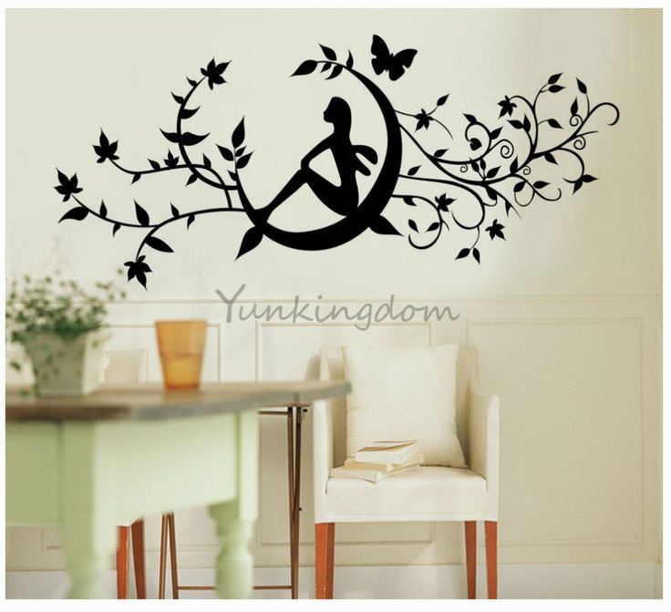 Amrsa Children Bedroom Home Decor Mural Vinyl Wall Sticker Black Fairy  Sitting In The Floral Vine Kids Nursery Art Decal Paper Part 65