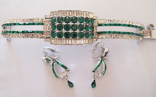 #3628 Coro Faux Emerald Deco Revival Bracelet $425  at Lee Caplan Vintage Collection on RubyLane   SOLD