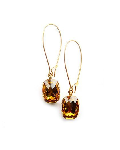 Pretty faceted amber drop earrings