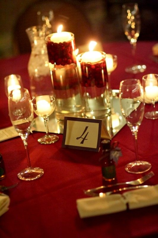 simple table decorations for weddings using cranberries - Google Search