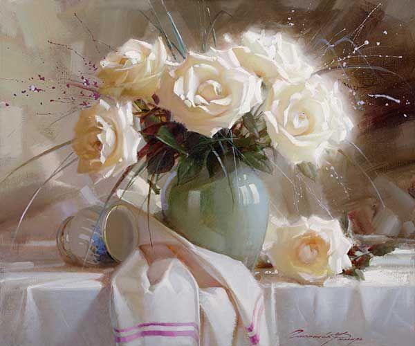 Гаппасов Рамиль. Натюрморт с белыми розами