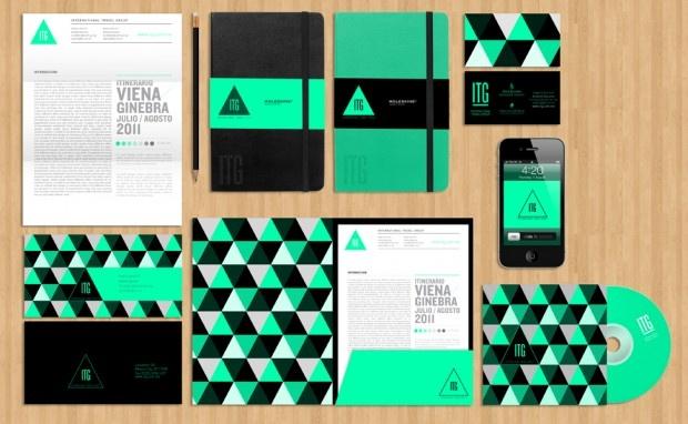 Geometric branding identity.