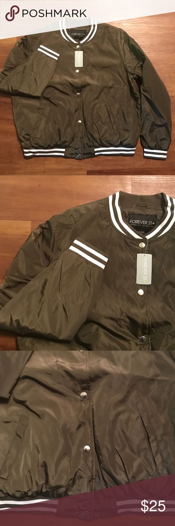 Varsity jacket Olive varsity jacket | Button down | plus size 1x | forever 21 | new with tags Forever 21 Jackets & Coats