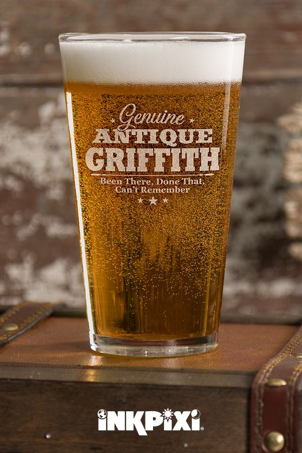 Genuine Antique Clear Pint Glass Engraved Single Pint Glass