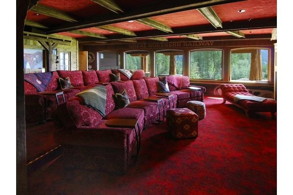 the theater room... (this one is even in Montana- my favorite place!)Theater Room, Trav'Lin Lights, Chairs, Estate Photos, Northern Lights, Basements Windows, Media Room, Mountain Homes, Dr. Whitefish