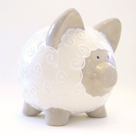 Beige Amp White Personalized Lamb Bank Lamb Piggy Bank
