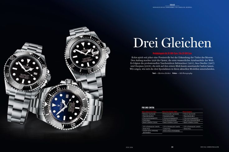 Die Rolex Modelle Submariner, Sea-Dweller und Deepsea unterscheiden sich äußerlich erst auf den zweiten Blick. Sie dienen aber höchst unterschiedlichen Ansprüchen.