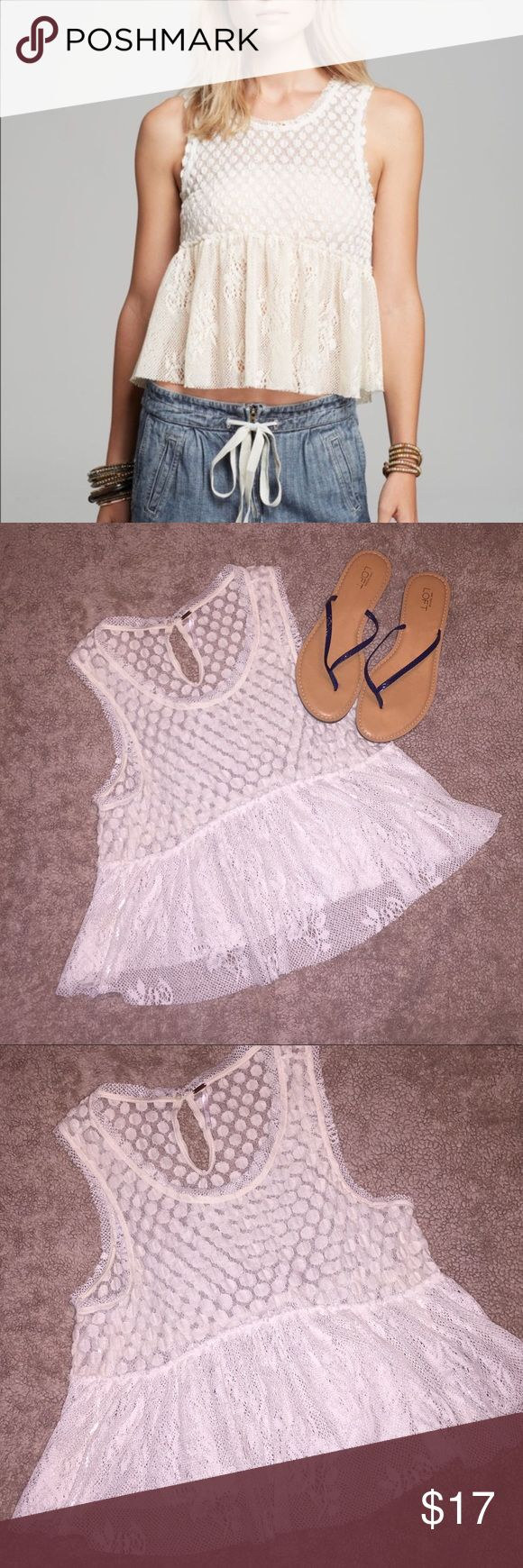 Free People Varsity Lace Peplum Top Excellent condition!! Adorable lace peplum top from Free People. Perfect for summer concert season!! LOFT sandals are also for sale in my closet ❤️❤️ Free People Tops Tank Tops