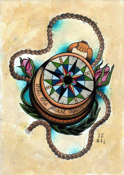 Compass Art Print - Tattoo Flash Print. £9.50, via Etsy