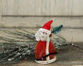 Vintage 1950s Santa Ornament Decoration Tiny Bottlebrush Tree Japan Chenille 50s Retro Kitsch Decor Cute Dimestore Kitschmas Santa