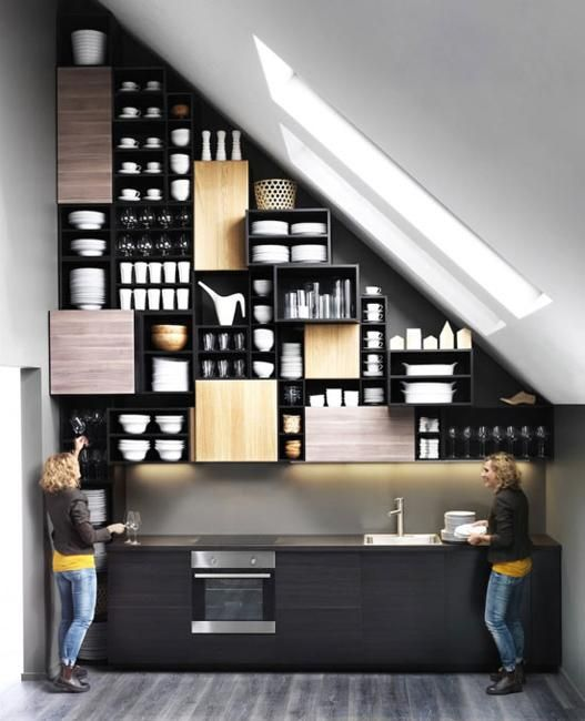 wooden kitchen cabinets for inexpensive modern kitchens-love the open and close shelvings