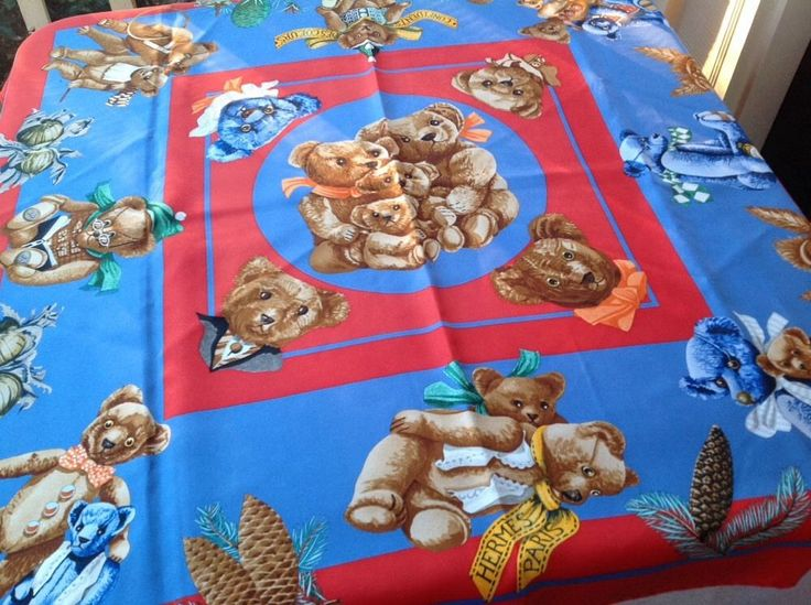 Authentic HERMÈS Silk Scarf Red Teddy Bears CONFIDENTS DES COEURS  #HERMS #Scarf