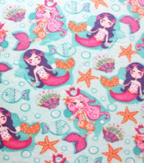 Anti-Pill Fleece Fabric-Pretty Mermaid