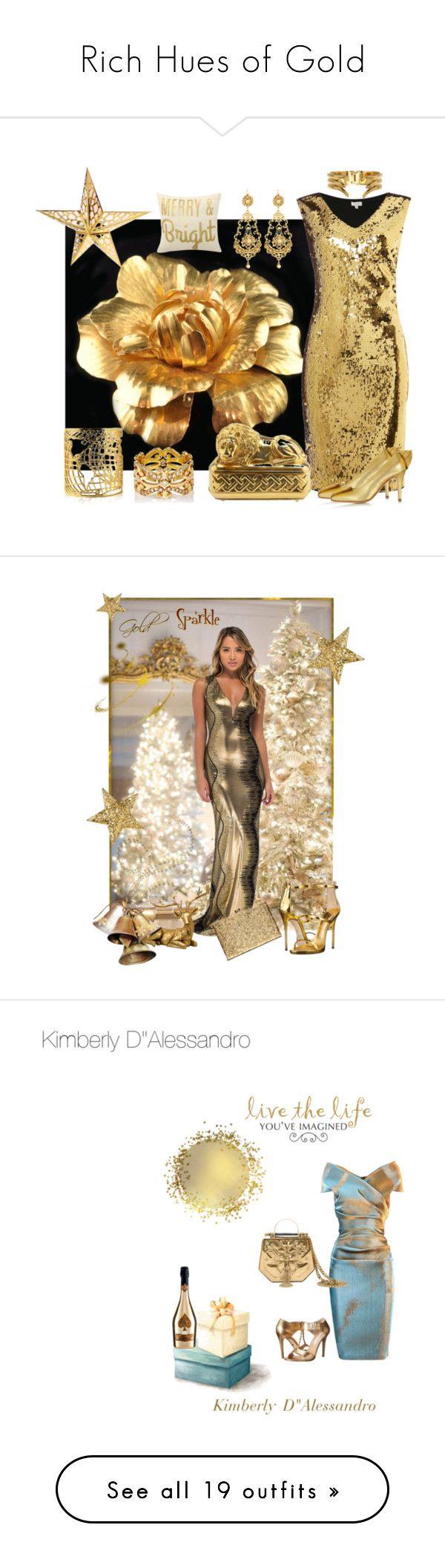 """Rich Hues of Gold"" by kimberlydalessandro ❤ liked on Polyvore featuring Untold, Jose & Maria Barrera, Sara Weinstock, Judith Leiber, Zoe Lee, Botkier, danceparty, Giuseppe Zanotti, Talbot Runhof and WALL"