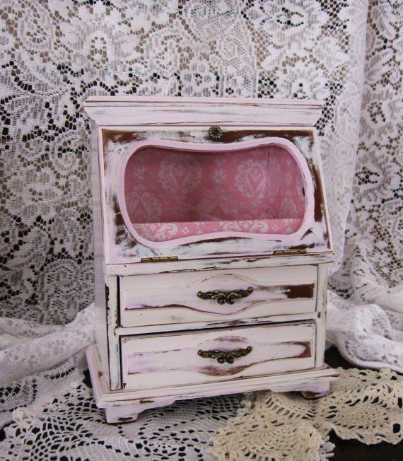 Vintage Shabby Chic distressed jewelry box, jewelry box, painted, Shabby Chic, vintage jewelry box, wooden jewelry box, upcycled