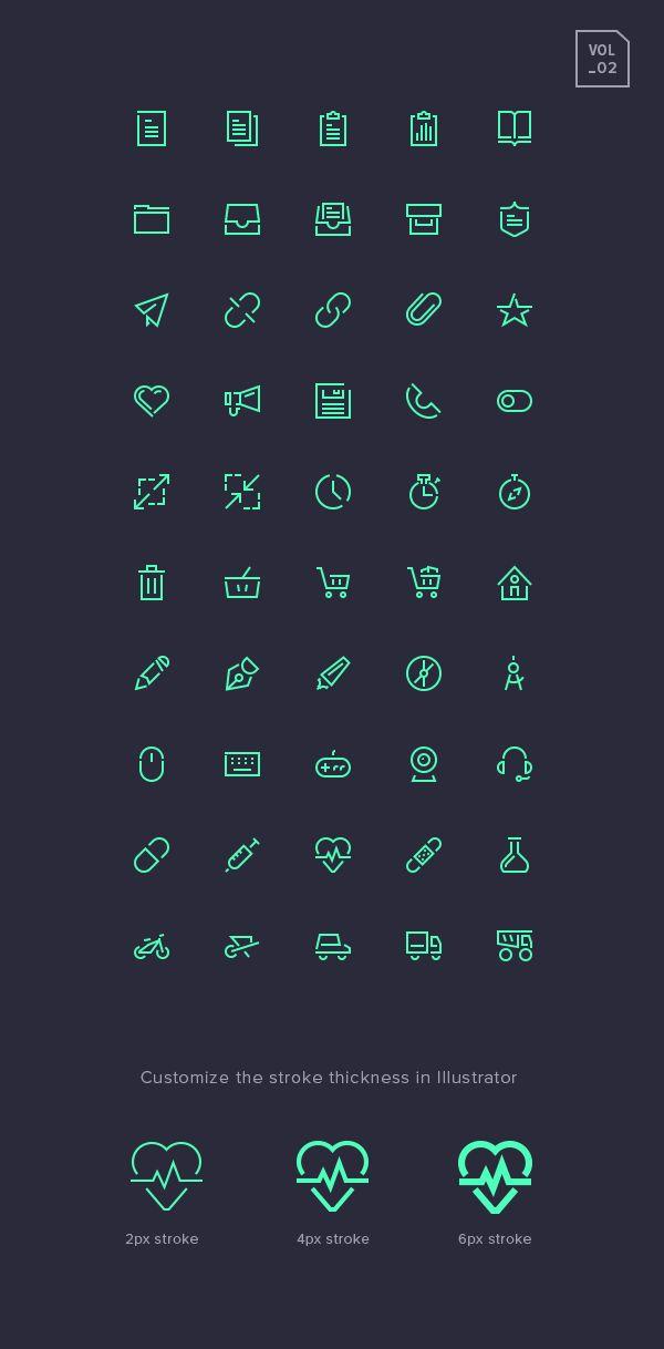Stroke Gap Icons Set Vol.2 | GraphicBurger