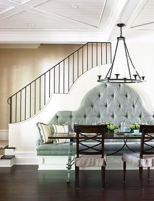Love how the stair wall follows the line of the dining bench.  South Shore Decorating Blog: Family Dream Home