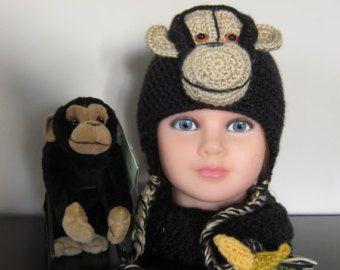 Hat. Monkey. Crocheted monkey. Crocheted monkey hat. Stuffed monkey. Hat with Bananna. Earflap hat. Crocheted Hat. Warm Hat. Bananna. Monkey
