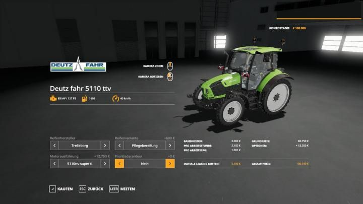 FS19 - Deutz-Fahr 5110 Ttv V1 Download | Game Mods