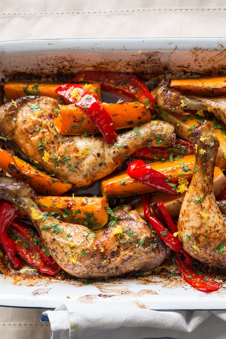 Soy roast chicken legs with butternut squash and red peppers - it does all the work for you.